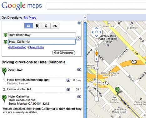 Vägbeskrivning av Google till Helvettet via Himlen