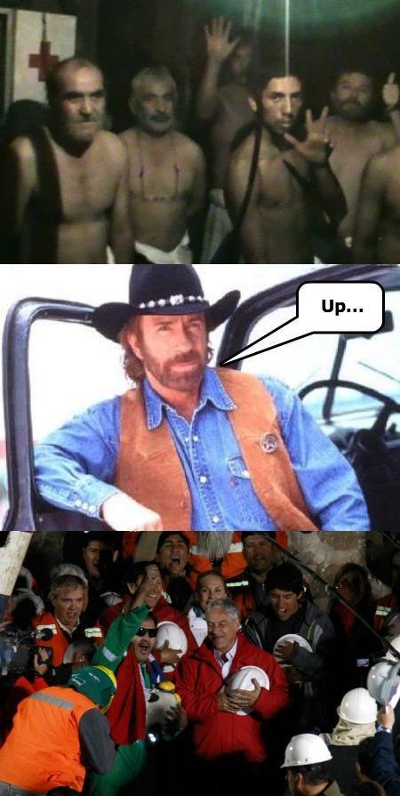 Chilenska gruvarbetarna får hjälp av Chuck Norris