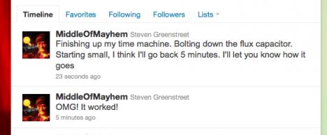 Bevis för fungerande tidsmaskin postas på Twitter