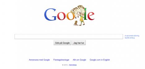 Pippi Långstrump på Googles hemsida