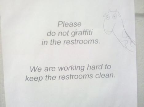 Snälla, sluta med giraffiti på toaletterna