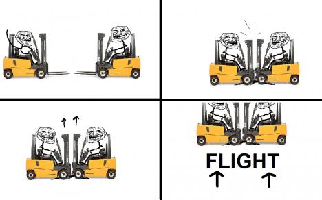 Så kan du använda en gaffeltruck som flygplan