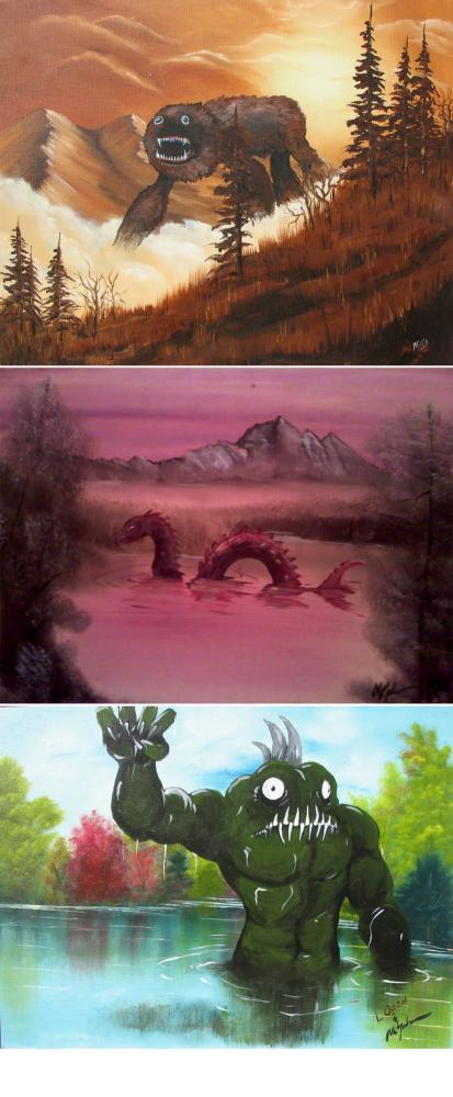Konstnär målar dit monster på färdiga tavlor