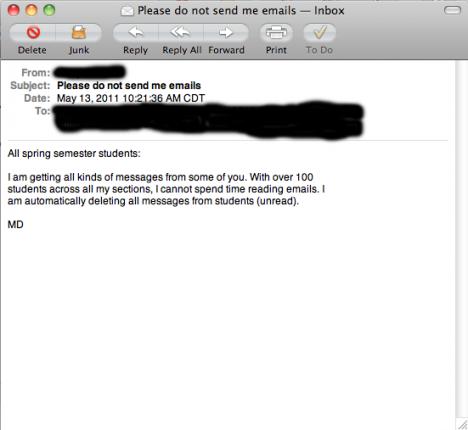 Meddelande från en professor