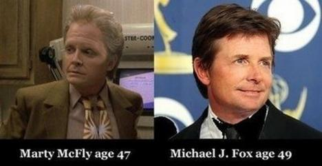 Michael J. Fox sida vid sida med Marty McFly