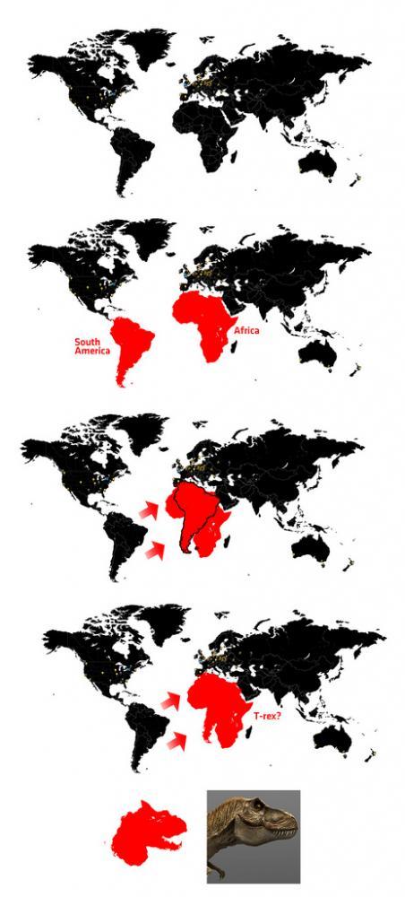Sydamerika + Afrika = T-rex?
