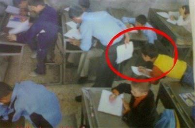 Fuskande elev fångad på bild