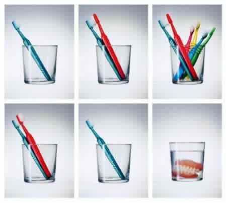 Livets gång illustrerat med tandborstar