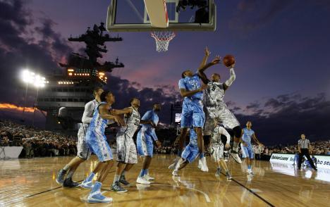 Basketmatch på hangarfartyg