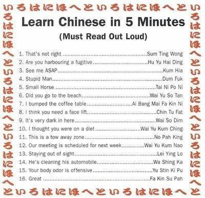 Lär dig kinesiska på fem minuter.....eller?