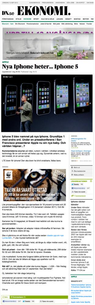 Skandalartikeln om iPhone 5 från DN.se