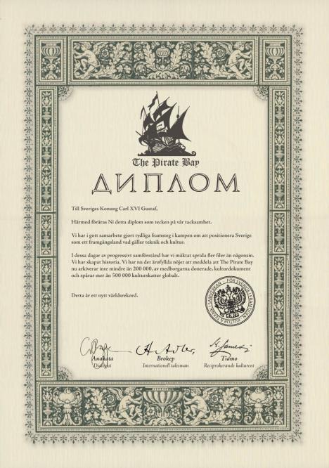 The Pirate Bay ger diplom till Kungen