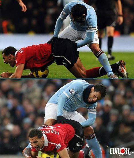 Väldigt närgången fotbollsspelare