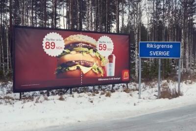 McDonalds-reklam på gränsen