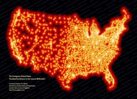 En karta över USA? Nej avstånd till McDonalds