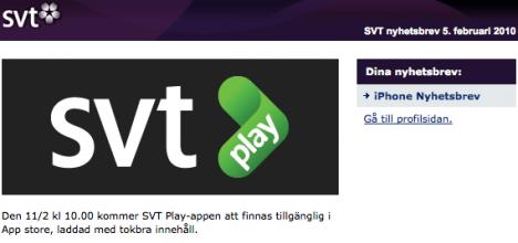 SVT Play för iPhone släpps 11:e februari