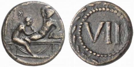 Gamalt mynt med lite spexigt motiv.
