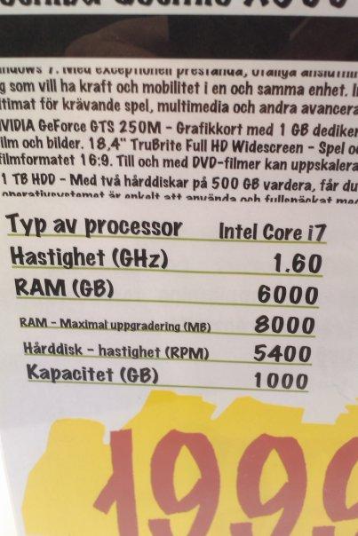 Bärbar dator på Elgiganten med bl.a 6000 GB i RAM!