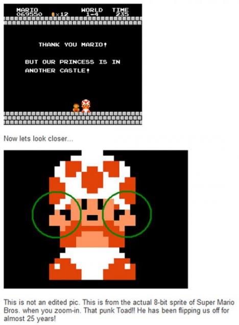 Toad (Super Mario) har gett oss fingret i 25 år