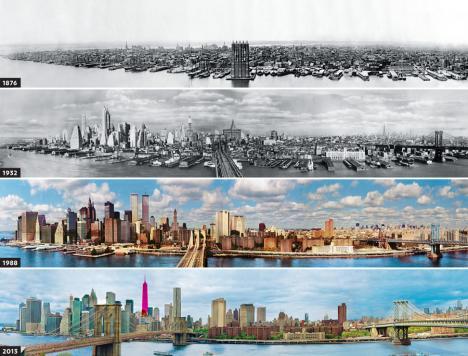 New Yorks stadssilhuett under 137 år
