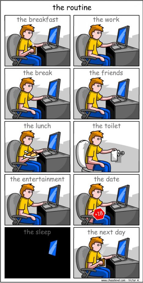 Livet framför en dator